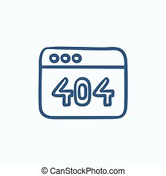 Browser window with 404 error sketch icon.