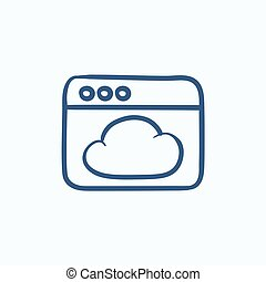Browser window with cloud  sketch icon.