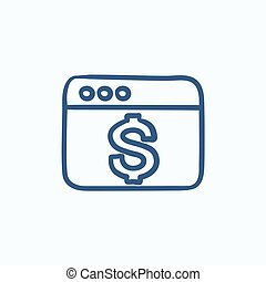 Browser window with dollar sign sketch icon.