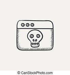 Browser window with skull sketch icon.