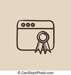 Browser window with winners rosette sketch icon. - Browser...