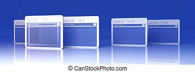 Browser Windows - 3D Illustration. Symbolic Browser Windows....