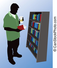 Browsing a Book Shelf - This is a vector silhouette of a man...