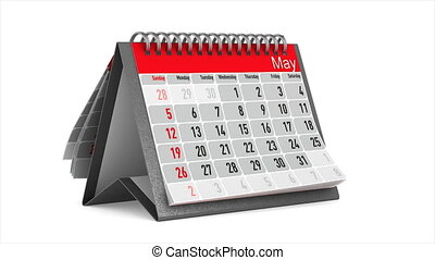 Browsing of the desktop calendar on white background....