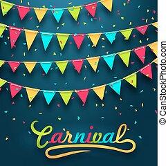bruant, carnaval, coloré, sombre, drapeaux, fond, fête