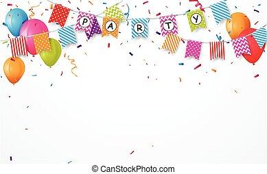 bruant, coloré, balloon, drapeaux, confetti, fête