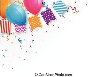 bruant, coloré, drapeaux, fond, ballons, célébration