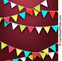 bruant, coloré, fetes, drapeaux, fond, fête