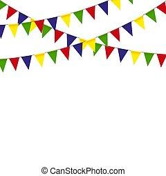 bruant, coloré, main, drapeaux, guirlandes, vector., dessiné