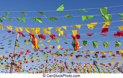 bruant, drapeaux, coloré, fête