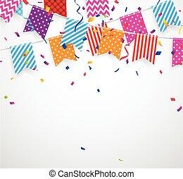 bruant, drapeaux, fond, coloré, célébration