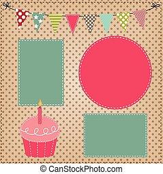 bruant, drapeaux, ou, gabarit, petit gâteau