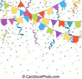 bruant, fête, illustration, papier, guirlandes, vecteur, drapeaux, exploser, confetti