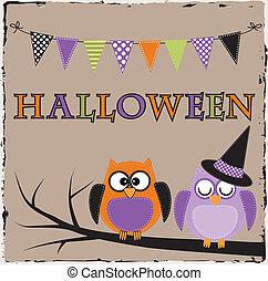 bruant, halloween, bannière, ou, hiboux