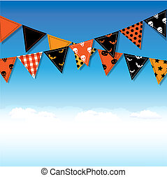 bruant, halloween, drapeaux, ciel