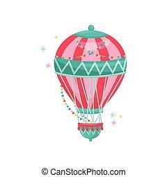 bruant, plat, coloré, divertissement, balloon, voler, theme., air, chaud, vecteur, icône, décoré, flags., amusement, park.