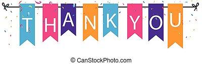 bruant, remercier, coloré, signe, drapeaux, fond, confetti, vous