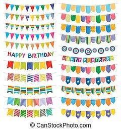 bruant, vecteur, coloré, décoration, anniversaire, drapeaux, garlands., fête