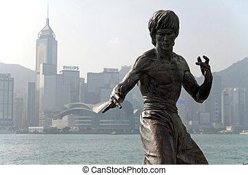 bruce, hong, lee, statue, kong
