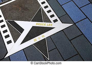 Bruce Lee star at the Avenue of Stars - HONG KONG, CHINA -...