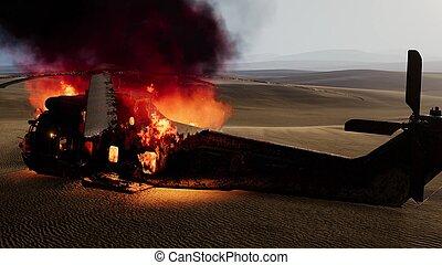 bruciato, tramonto, elicottero militare, deserto