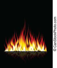 bruciatura, fiamma, fuoco, lei, disegno