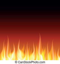 bruciatura, fiamma, fuoco, vettore, fondo