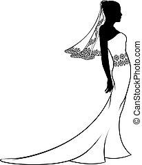 brud, klänning, silhuett, bröllop