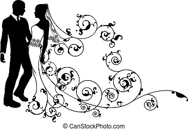 brud, par, soignere, silhuet, bryllup