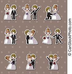 brud, sätta, klistermärken, bröllop