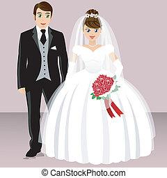 brud, soignere, -, bryllup