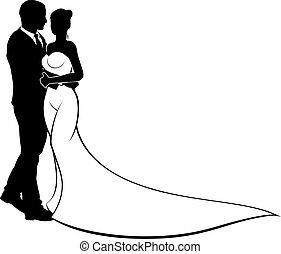 brud, soignere, silhuet, bryllup