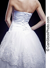 brud, synhåll, klänning, baksida, bröllop