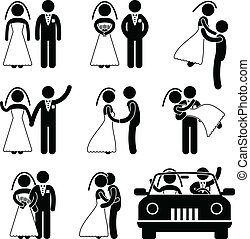 brudgum, brud, äktenskap, bröllop