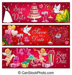 brudgum, symbol., brud, bröllop, datera, räddning, dag