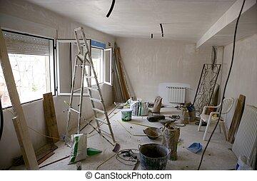 brudny pokój, ulepszenie, podczas, contruction