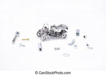 brudt, automobilen, og, reparer, process.