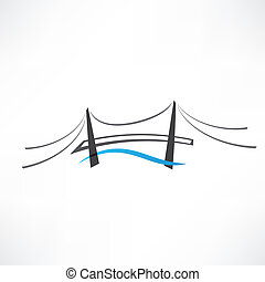 brug, abstract, straat, pictogram