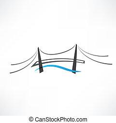 brug, abstract, straat, pictogram