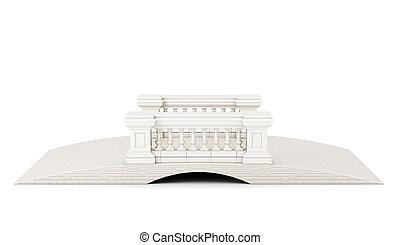 brug, achtergrond., vertolking, voorkant, witte , aanzicht, balustrade, 3d