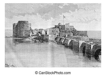 brug, associatie, de, stad, om te, sidon, zee, kasteel, in,...