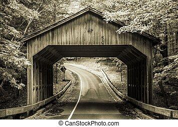 brug, bedekt, ouderwetse