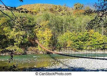 brug, berg, op, voet, ophanging, rivier, aanzicht