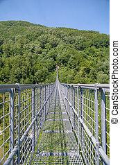 brug, bosrijk, bergen, op, ophanging, vallei