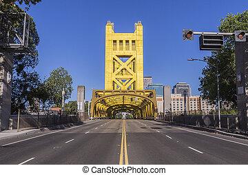 brug, californië, oud, sacramento