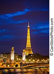 brug, derde, touristic, bouwterrein, paris., populair,...