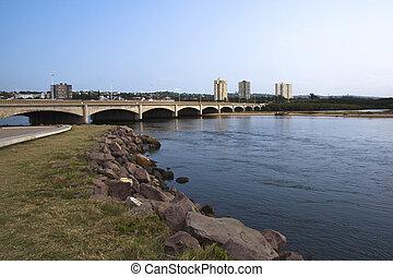 brug, durban, op, umgeni, afrika, verkeer, mond, rivier, zuiden