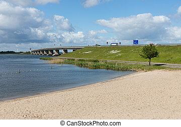 brug, emmeloord, hollandse, beton, lelystad, tussen, strand