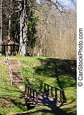brug, en, een, trap