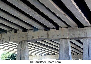brug, engineery, balken, beton, kolommen